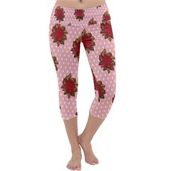 Pink Polka Dot Background With Red Roses Capri Yoga Leggings