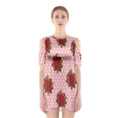 Pink Polka Dot Background With Red Roses Shoulder Cutout One Piece