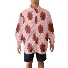 Pink Polka Dot Background With Red Roses Wind Breaker (kids)