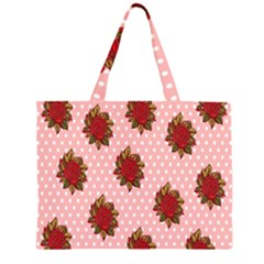 Pink Polka Dot Background With Red Roses Zipper Large Tote Bag