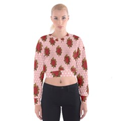 Pink Polka Dot Background With Red Roses Cropped Sweatshirt