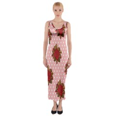 Pink Polka Dot Background With Red Roses Fitted Maxi Dress