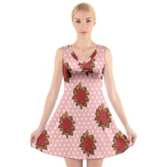 Pink Polka Dot Background With Red Roses V Neck Sleeveless Skater Dress