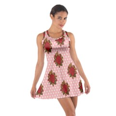 Pink Polka Dot Background With Red Roses Cotton Racerback Dress