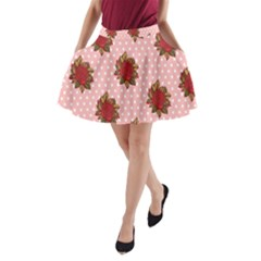 Pink Polka Dot Background With Red Roses A-Line Pocket Skirt