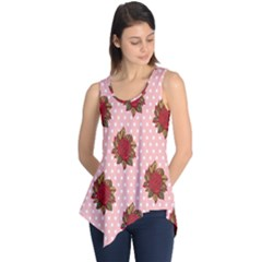 Pink Polka Dot Background With Red Roses Sleeveless Tunic