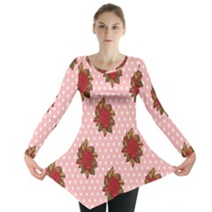 Pink Polka Dot Background With Red Roses Long Sleeve Tunic