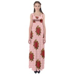 Pink Polka Dot Background With Red Roses Empire Waist Maxi Dress