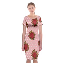 Pink Polka Dot Background With Red Roses Classic Short Sleeve Midi Dress