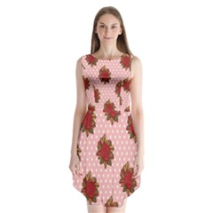 Pink Polka Dot Background With Red Roses Sleeveless Chiffon Dress