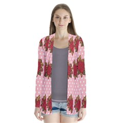 Pink Polka Dot Background With Red Roses Cardigans