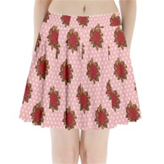 Pink Polka Dot Background With Red Roses Pleated Mini Skirt