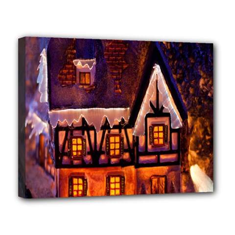 House In Winter Decoration Canvas 14  X 11