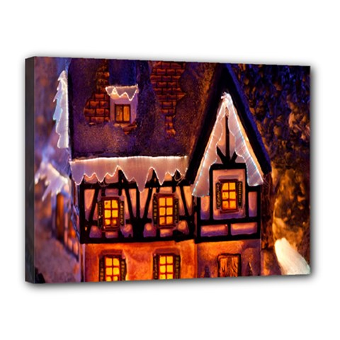 House In Winter Decoration Canvas 16  x 12