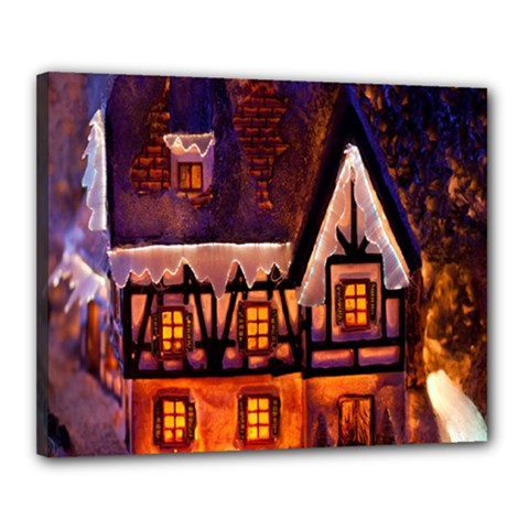 House In Winter Decoration Canvas 20  x 16