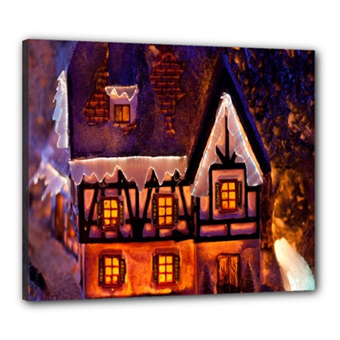 House In Winter Decoration Canvas 24  X 20