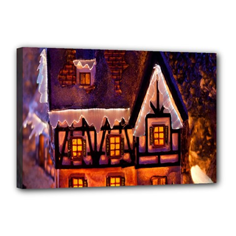 House In Winter Decoration Canvas 18  x 12