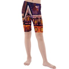 House In Winter Decoration Kids  Mid Length Swim Shorts