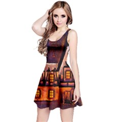 House In Winter Decoration Reversible Sleeveless Dress