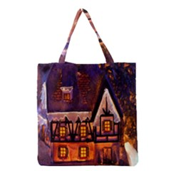 House In Winter Decoration Grocery Tote Bag
