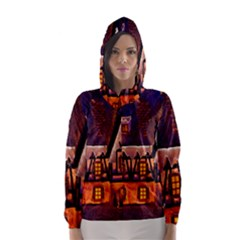 House In Winter Decoration Hooded Wind Breaker (women)