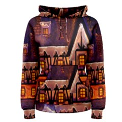 House In Winter Decoration Women s Pullover Hoodie