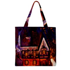 House In Winter Decoration Zipper Grocery Tote Bag