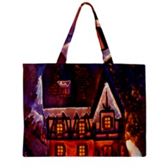 House In Winter Decoration Zipper Mini Tote Bag