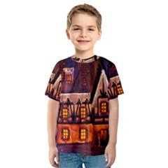 House In Winter Decoration Kids  Sport Mesh Tee