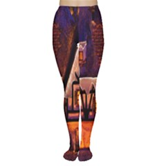 House In Winter Decoration Women s Tights
