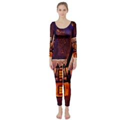 House In Winter Decoration Long Sleeve Catsuit