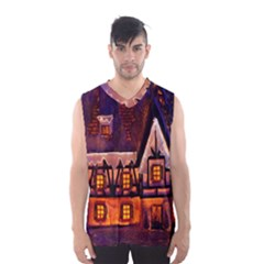 House In Winter Decoration Men s Basketball Tank Top