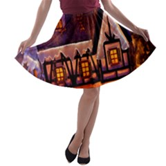 House In Winter Decoration A-line Skater Skirt