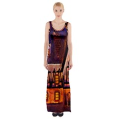 House In Winter Decoration Maxi Thigh Split Dress