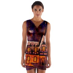 House In Winter Decoration Wrap Front Bodycon Dress