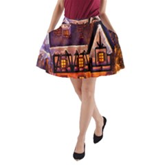 House In Winter Decoration A-Line Pocket Skirt