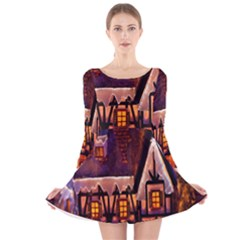 House In Winter Decoration Long Sleeve Velvet Skater Dress