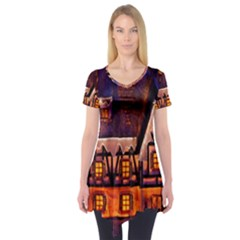 House In Winter Decoration Short Sleeve Tunic