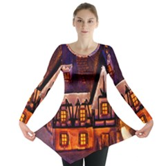 House In Winter Decoration Long Sleeve Tunic