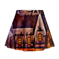 House In Winter Decoration Mini Flare Skirt