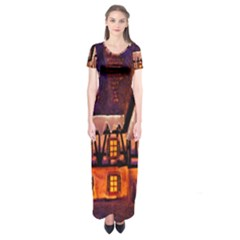 House In Winter Decoration Short Sleeve Maxi Dress