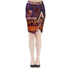 House In Winter Decoration Midi Wrap Pencil Skirt