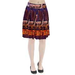 House In Winter Decoration Pleated Skirt