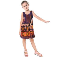 House In Winter Decoration Kids  Sleeveless Dress