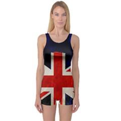 Flag Of Britain Grunge Union Jack Flag Background One Piece Boyleg Swimsuit