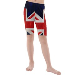 Flag Of Britain Grunge Union Jack Flag Background Kids  Mid Length Swim Shorts