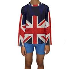 Flag Of Britain Grunge Union Jack Flag Background Kids  Long Sleeve Swimwear
