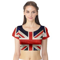 Flag Of Britain Grunge Union Jack Flag Background Short Sleeve Crop Top (tight Fit)