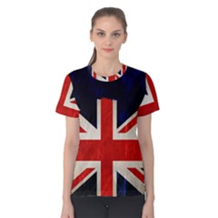 Flag Of Britain Grunge Union Jack Flag Background Women s Cotton Tee