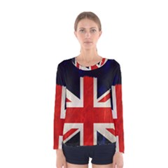 Flag Of Britain Grunge Union Jack Flag Background Women s Long Sleeve Tee